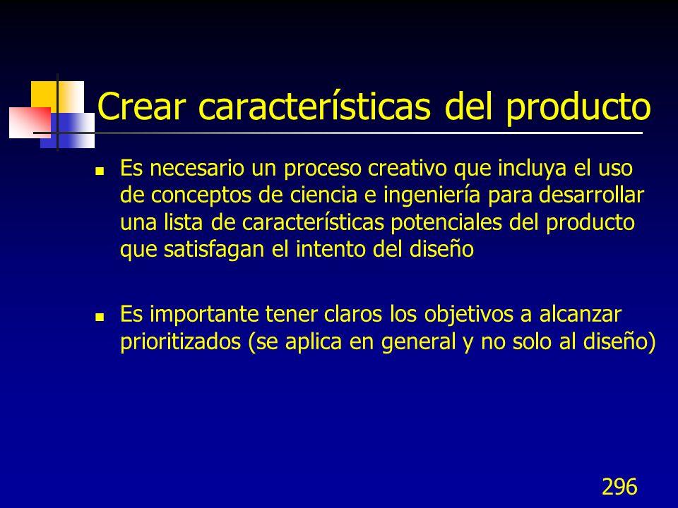 296 Crear características del producto Es necesario un proceso creativo que incluya el uso de conceptos de ciencia e ingeniería para desarrollar una l