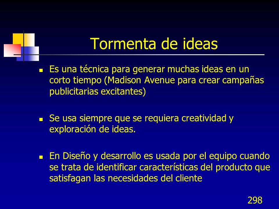 298 Tormenta de ideas Es una técnica para generar muchas ideas en un corto tiempo (Madison Avenue para crear campañas publicitarias excitantes) Se usa