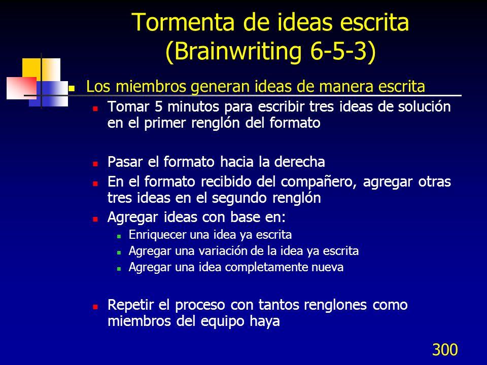 300 Tormenta de ideas escrita (Brainwriting 6-5-3) Los miembros generan ideas de manera escrita Tomar 5 minutos para escribir tres ideas de solución e