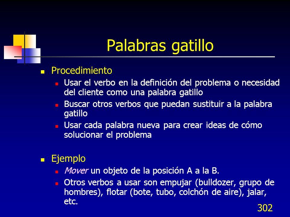 302 Palabras gatillo Procedimiento Usar el verbo en la definición del problema o necesidad del cliente como una palabra gatillo Buscar otros verbos qu