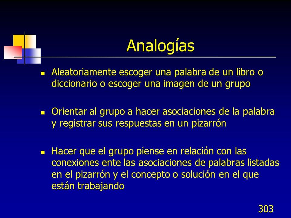 303 Analogías Aleatoriamente escoger una palabra de un libro o diccionario o escoger una imagen de un grupo Orientar al grupo a hacer asociaciones de