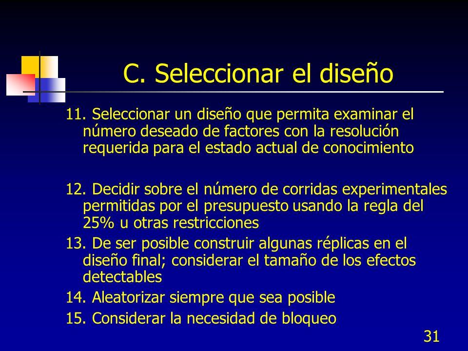 31 C. Seleccionar el diseño 11. Seleccionar un diseño que permita examinar el número deseado de factores con la resolución requerida para el estado ac