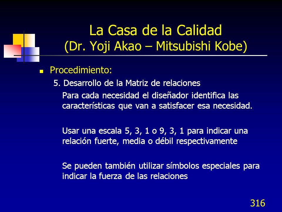 316 La Casa de la Calidad (Dr. Yoji Akao – Mitsubishi Kobe) Procedimiento: 5. Desarrollo de la Matriz de relaciones Para cada necesidad el diseñador i