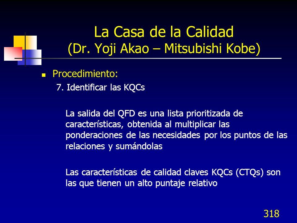 318 La Casa de la Calidad (Dr. Yoji Akao – Mitsubishi Kobe) Procedimiento: 7. Identificar las KQCs La salida del QFD es una lista prioritizada de cara