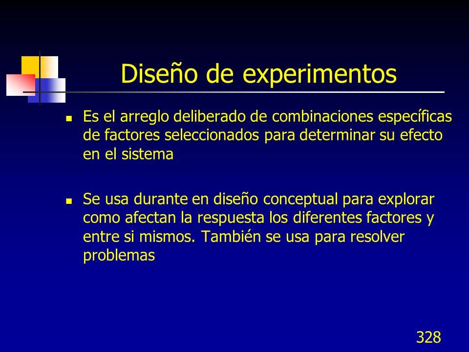 328 Diseño de experimentos Es el arreglo deliberado de combinaciones específicas de factores seleccionados para determinar su efecto en el sistema Se