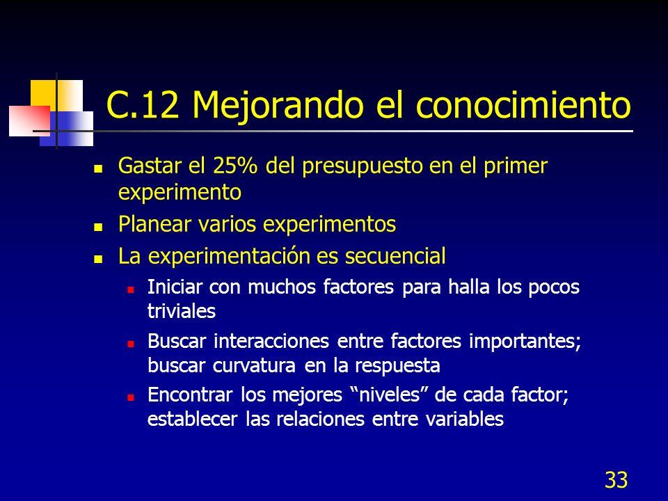 33 C.12 Mejorando el conocimiento Gastar el 25% del presupuesto en el primer experimento Planear varios experimentos La experimentación es secuencial