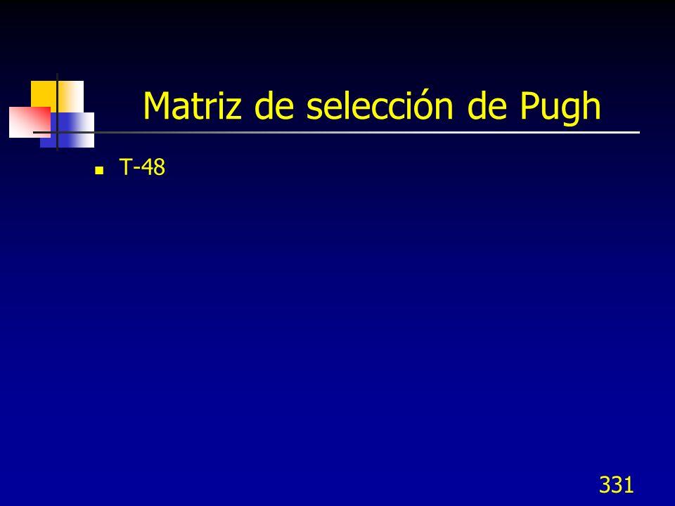 331 Matriz de selección de Pugh T-48