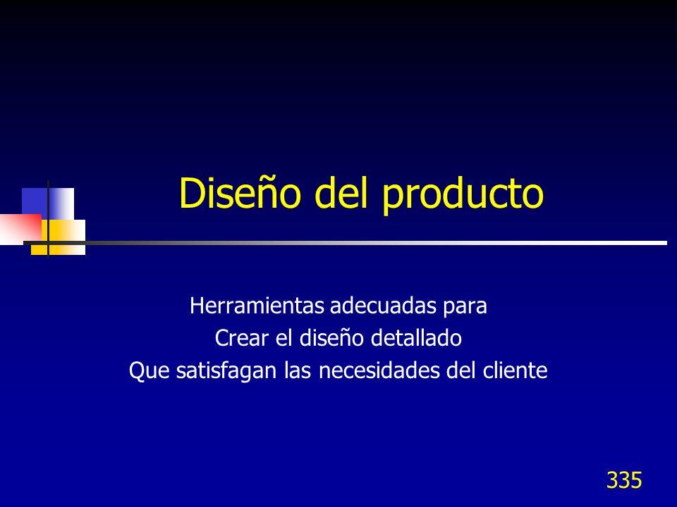 335 Diseño del producto Herramientas adecuadas para Crear el diseño detallado Que satisfagan las necesidades del cliente