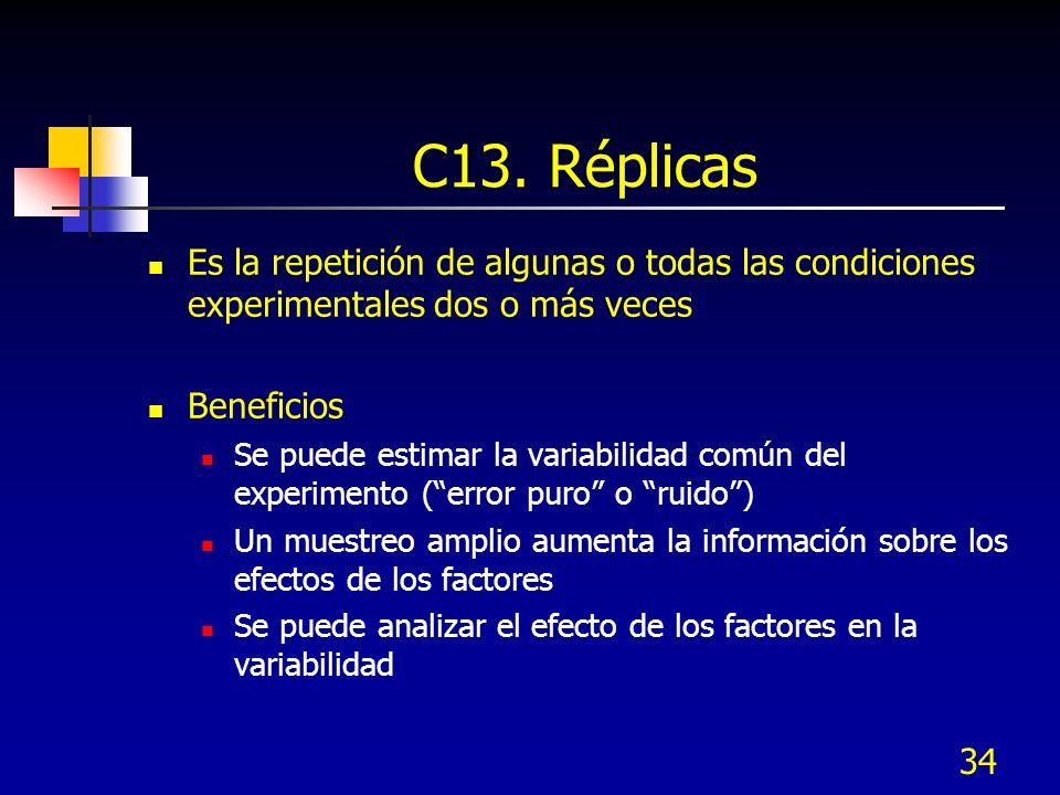 34 C13. Réplicas Es la repetición de algunas o todas las condiciones experimentales dos o más veces Beneficios Se puede estimar la variabilidad común