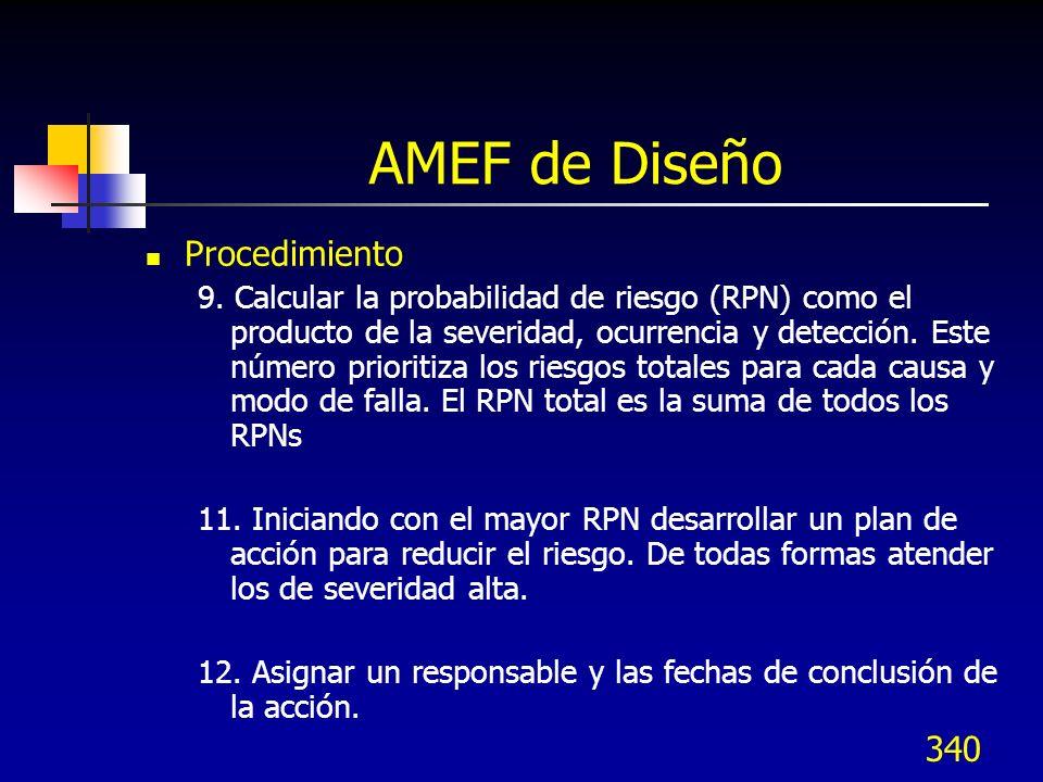 340 AMEF de Diseño Procedimiento 9. Calcular la probabilidad de riesgo (RPN) como el producto de la severidad, ocurrencia y detección. Este número pri