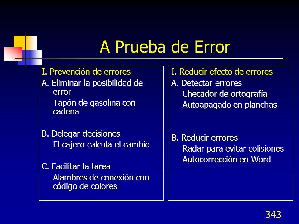 343 A Prueba de Error I. Prevención de errores A. Eliminar la posibilidad de error Tapón de gasolina con cadena B. Delegar decisiones El cajero calcul