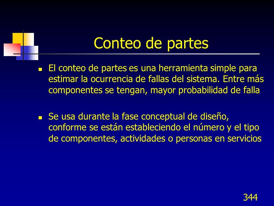 344 Conteo de partes El conteo de partes es una herramienta simple para estimar la ocurrencia de fallas del sistema. Entre más componentes se tengan,
