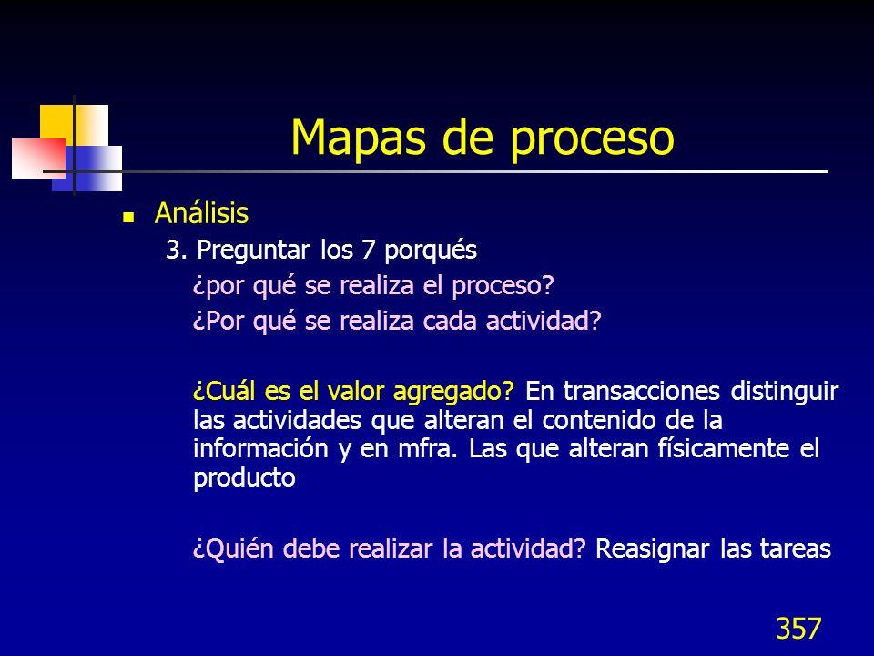 357 Mapas de proceso Análisis 3. Preguntar los 7 porqués ¿por qué se realiza el proceso? ¿Por qué se realiza cada actividad? ¿Cuál es el valor agregad