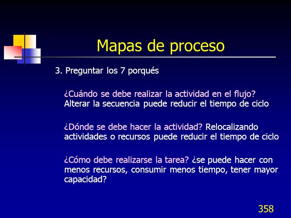 358 Mapas de proceso 3. Preguntar los 7 porqués ¿Cuándo se debe realizar la actividad en el flujo? Alterar la secuencia puede reducir el tiempo de cic