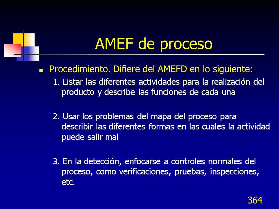 364 AMEF de proceso Procedimiento. Difiere del AMEFD en lo siguiente: 1. Listar las diferentes actividades para la realización del producto y describe