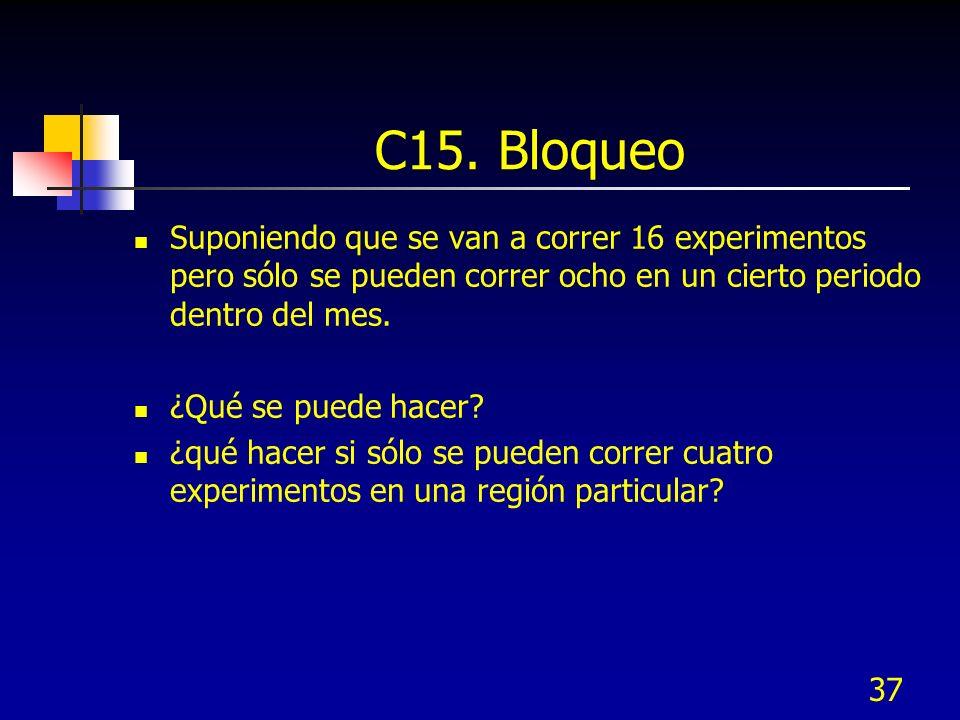 37 C15. Bloqueo Suponiendo que se van a correr 16 experimentos pero sólo se pueden correr ocho en un cierto periodo dentro del mes. ¿Qué se puede hace