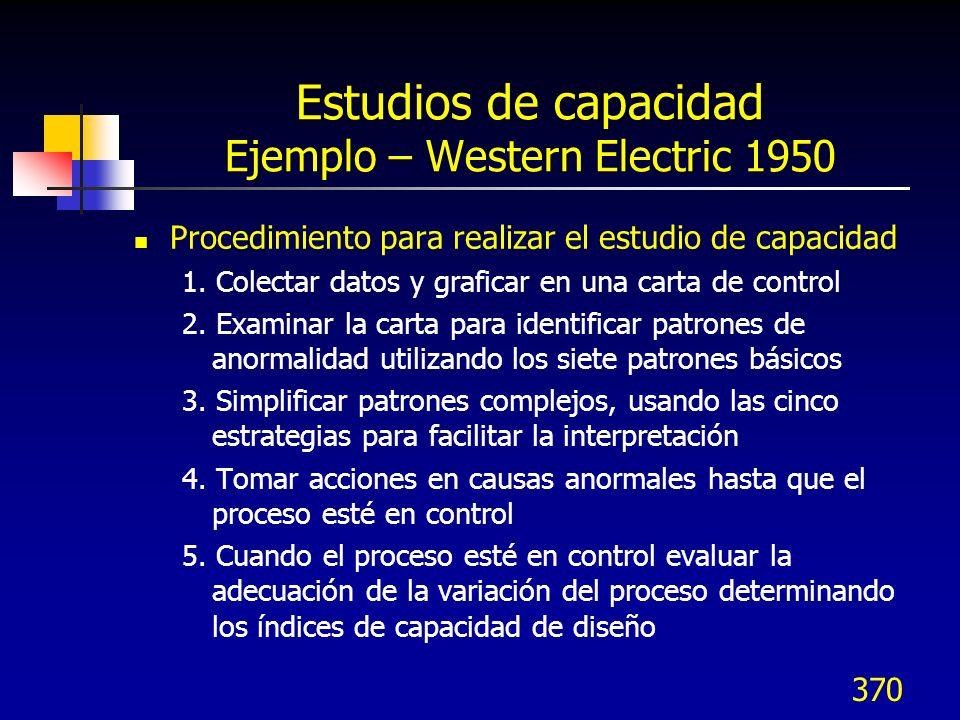 370 Estudios de capacidad Ejemplo – Western Electric 1950 Procedimiento para realizar el estudio de capacidad 1. Colectar datos y graficar en una cart