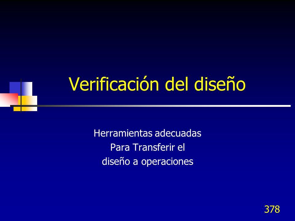 378 Verificación del diseño Herramientas adecuadas Para Transferir el diseño a operaciones