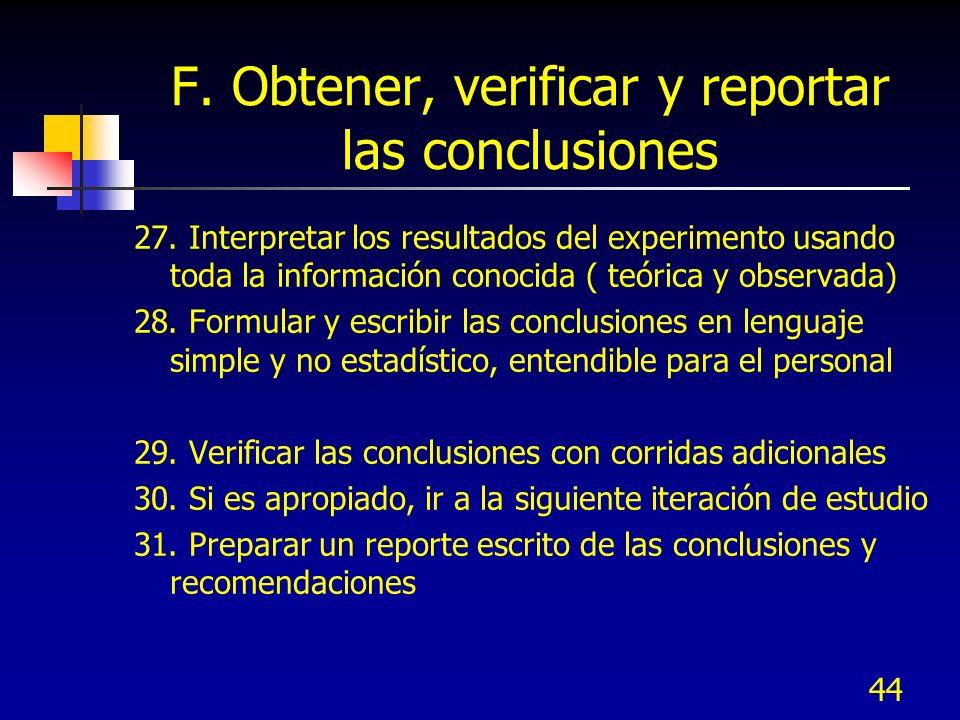 44 F. Obtener, verificar y reportar las conclusiones 27. Interpretar los resultados del experimento usando toda la información conocida ( teórica y ob