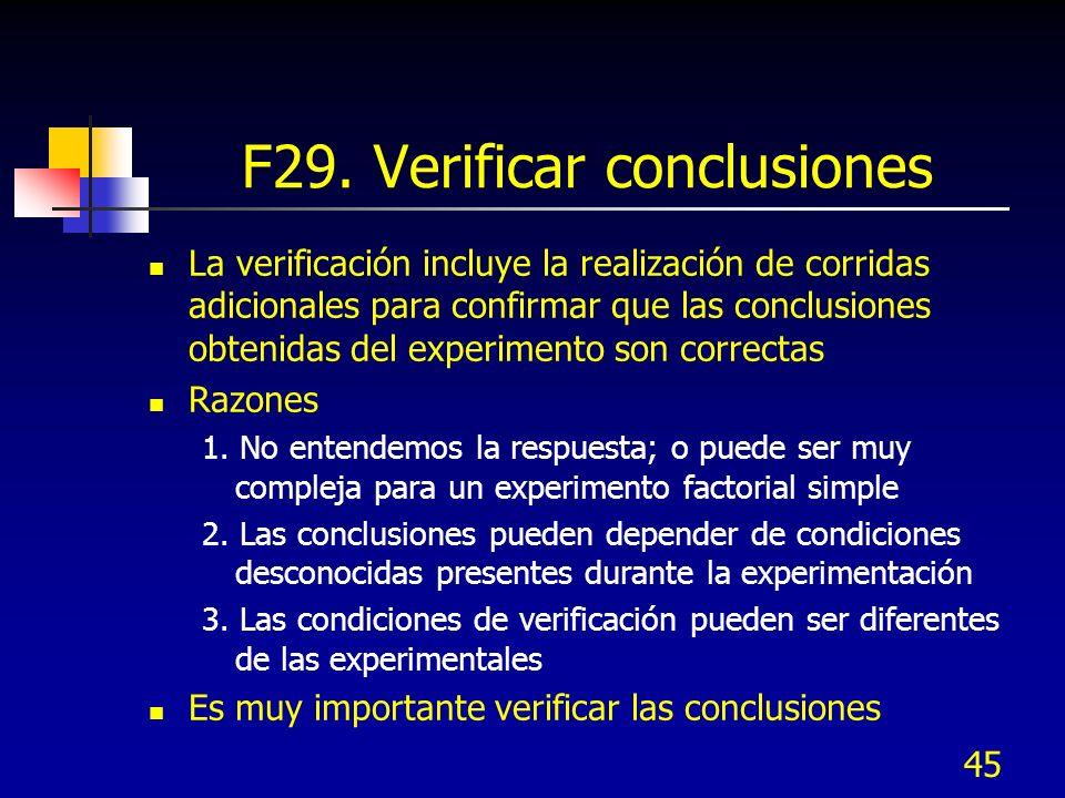 45 F29. Verificar conclusiones La verificación incluye la realización de corridas adicionales para confirmar que las conclusiones obtenidas del experi