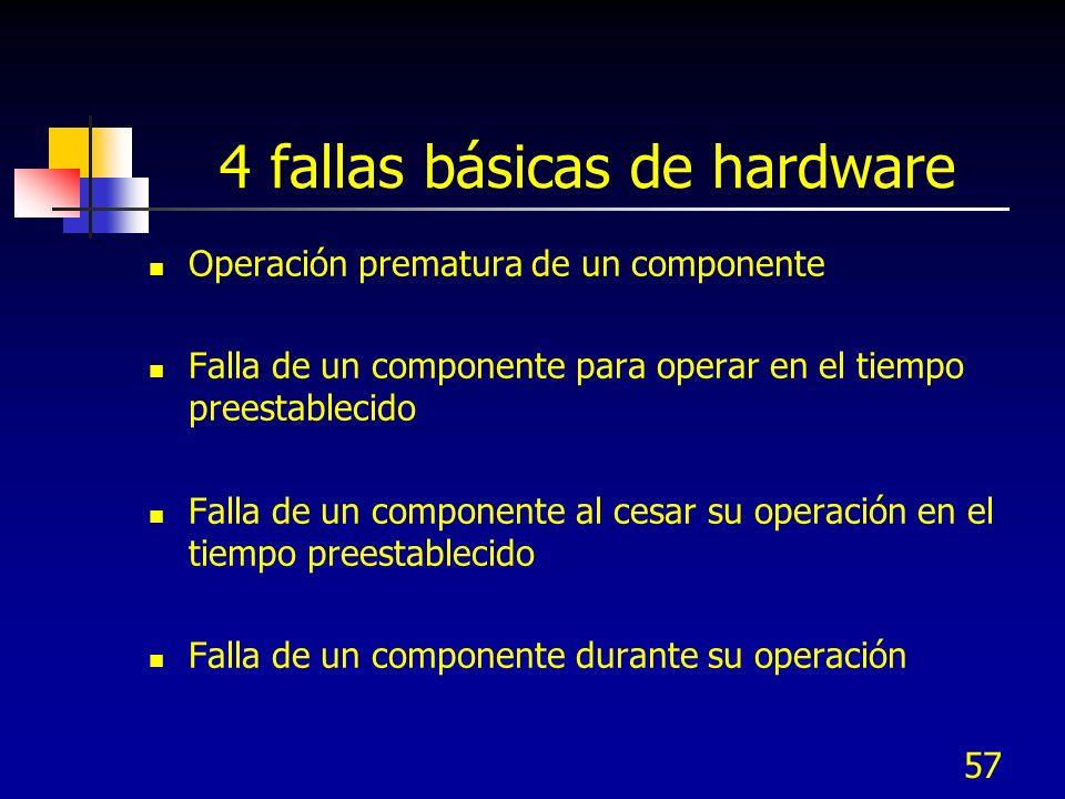 57 4 fallas básicas de hardware Operación prematura de un componente Falla de un componente para operar en el tiempo preestablecido Falla de un compon