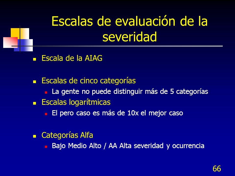 66 Escalas de evaluación de la severidad Escala de la AIAG Escalas de cinco categorías La gente no puede distinguir más de 5 categorías Escalas logarí