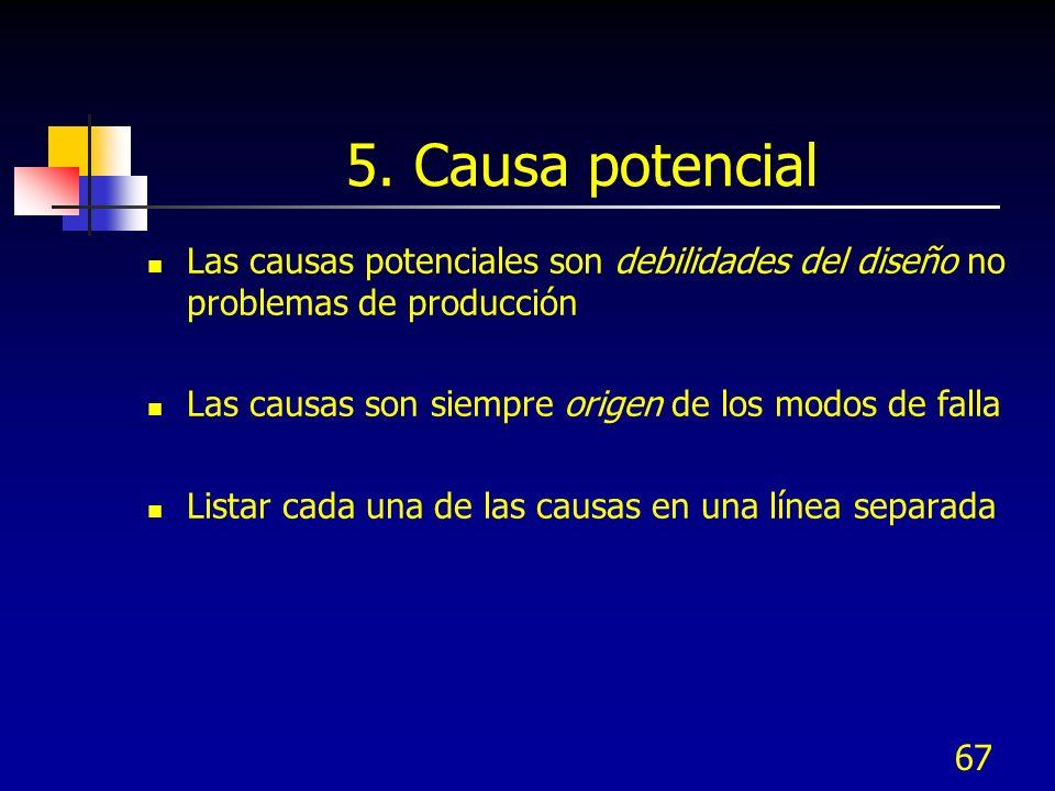 67 5. Causa potencial Las causas potenciales son debilidades del diseño no problemas de producción Las causas son siempre origen de los modos de falla