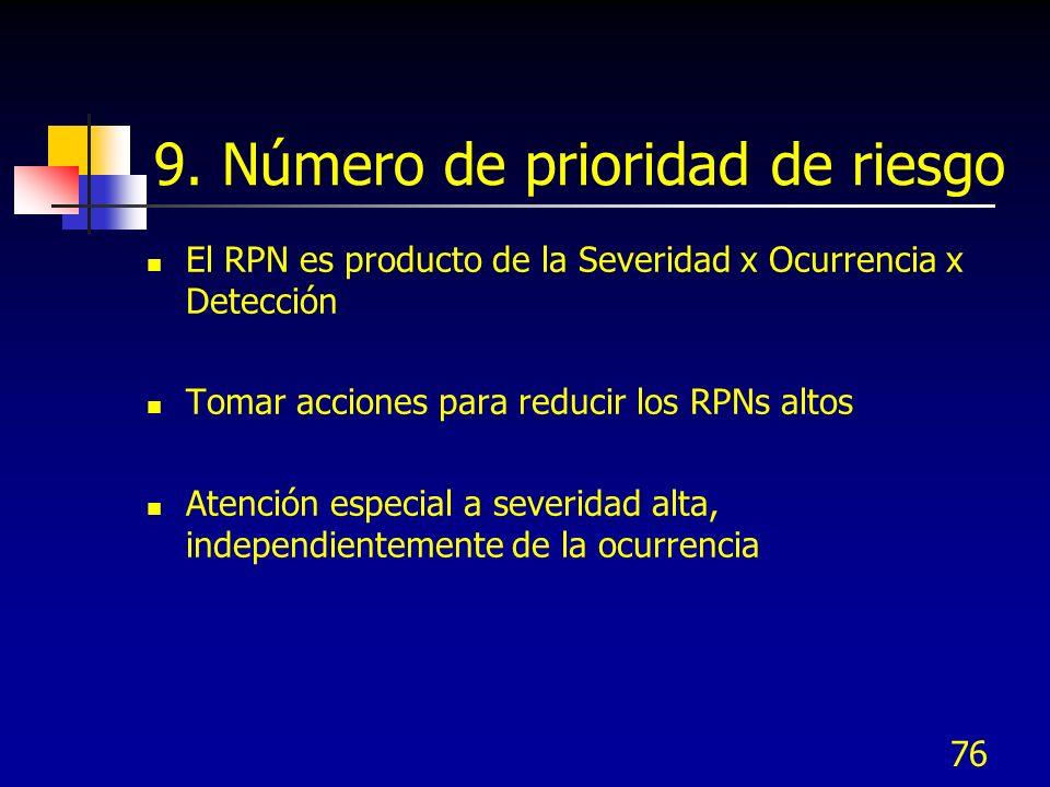 76 9. Número de prioridad de riesgo El RPN es producto de la Severidad x Ocurrencia x Detección Tomar acciones para reducir los RPNs altos Atención es