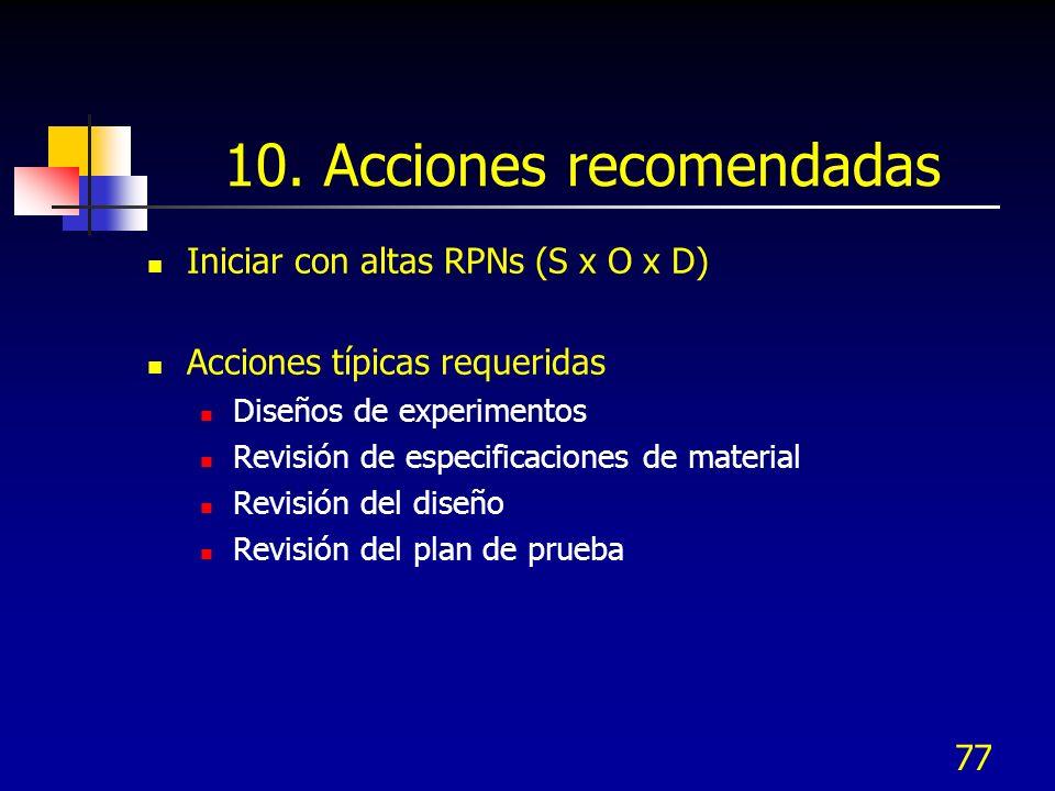 77 10. Acciones recomendadas Iniciar con altas RPNs (S x O x D) Acciones típicas requeridas Diseños de experimentos Revisión de especificaciones de ma