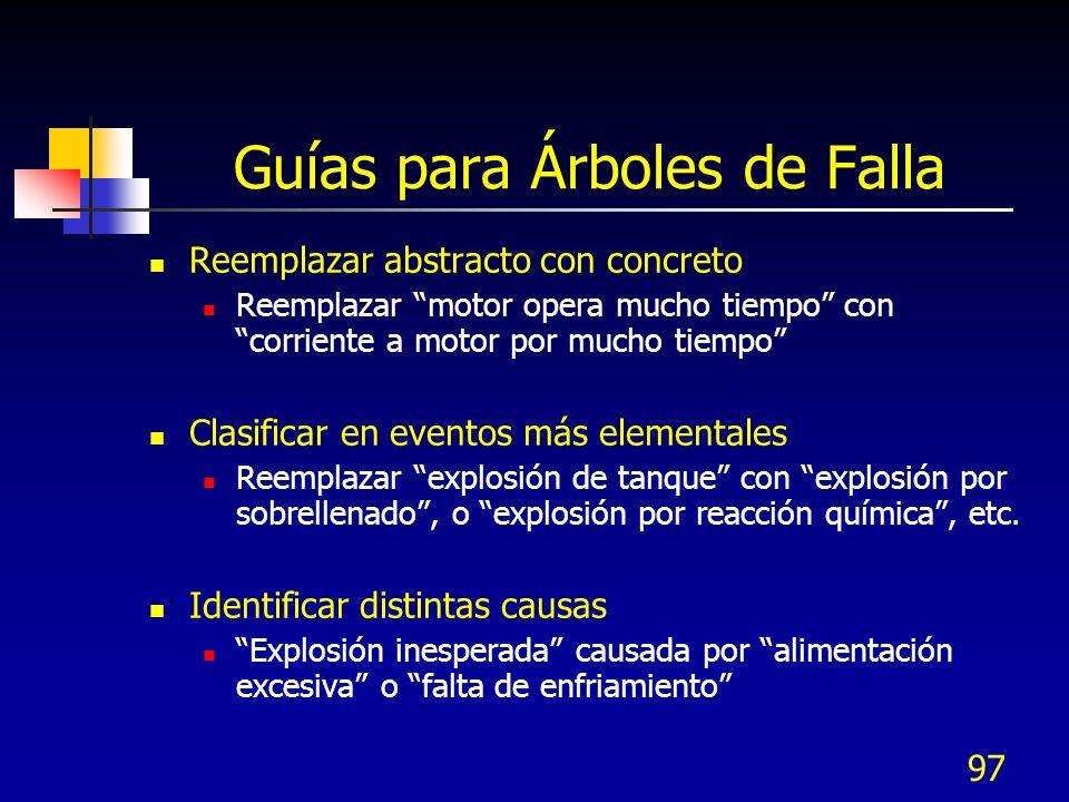 97 Guías para Árboles de Falla Reemplazar abstracto con concreto Reemplazar motor opera mucho tiempo con corriente a motor por mucho tiempo Clasificar