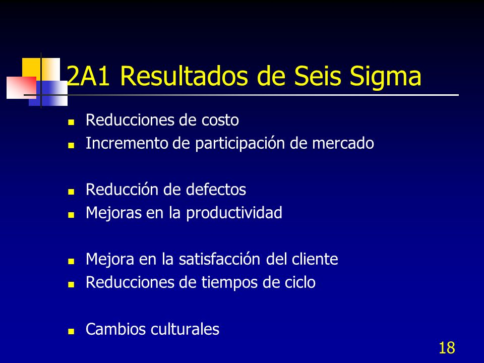 18 2A1 Resultados de Seis Sigma Reducciones de costo Incremento de participación de mercado Reducción de defectos Mejoras en la productividad Mejora e