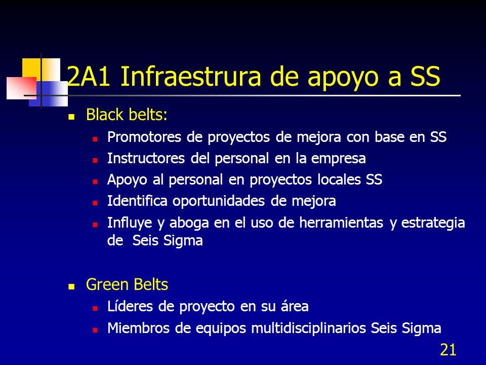 21 2A1 Infraestrura de apoyo a SS Black belts: Promotores de proyectos de mejora con base en SS Instructores del personal en la empresa Apoyo al perso