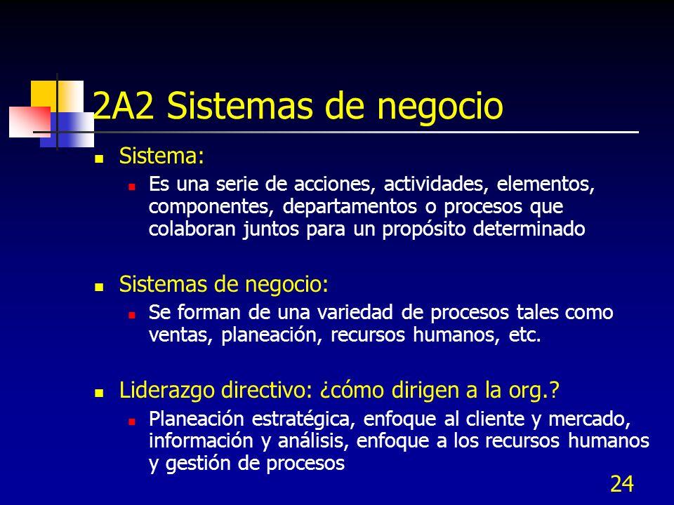 24 2A2 Sistemas de negocio Sistema: Es una serie de acciones, actividades, elementos, componentes, departamentos o procesos que colaboran juntos para
