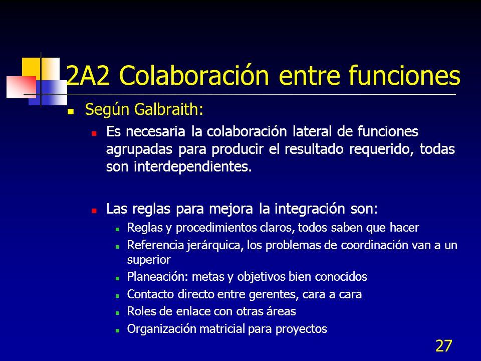27 2A2 Colaboración entre funciones Según Galbraith: Es necesaria la colaboración lateral de funciones agrupadas para producir el resultado requerido,