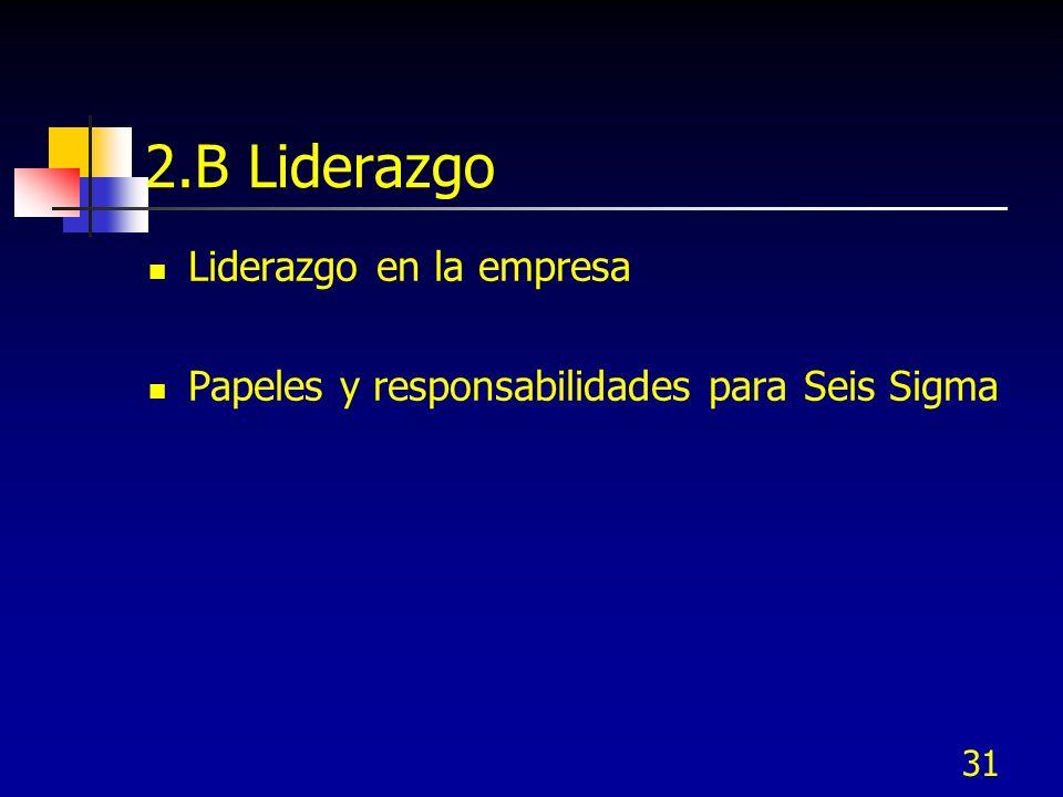 31 2.B Liderazgo Liderazgo en la empresa Papeles y responsabilidades para Seis Sigma
