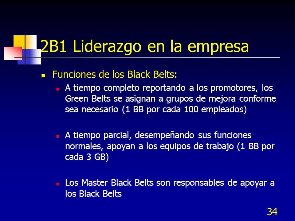 34 2B1 Liderazgo en la empresa Funciones de los Black Belts: A tiempo completo reportando a los promotores, los Green Belts se asignan a grupos de mej