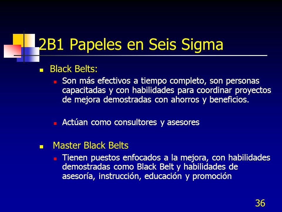 36 2B1 Papeles en Seis Sigma Black Belts: Son más efectivos a tiempo completo, son personas capacitadas y con habilidades para coordinar proyectos de