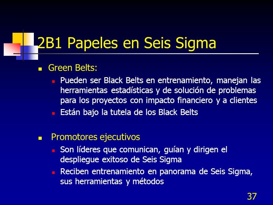 37 2B1 Papeles en Seis Sigma Green Belts: Pueden ser Black Belts en entrenamiento, manejan las herramientas estadísticas y de solución de problemas pa