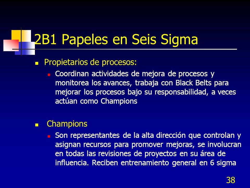 38 2B1 Papeles en Seis Sigma Propietarios de procesos: Coordinan actividades de mejora de procesos y monitorea los avances, trabaja con Black Belts pa