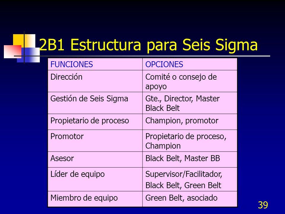 39 2B1 Estructura para Seis Sigma FUNCIONESOPCIONES DirecciónComité o consejo de apoyo Gestión de Seis SigmaGte., Director, Master Black Belt Propieta