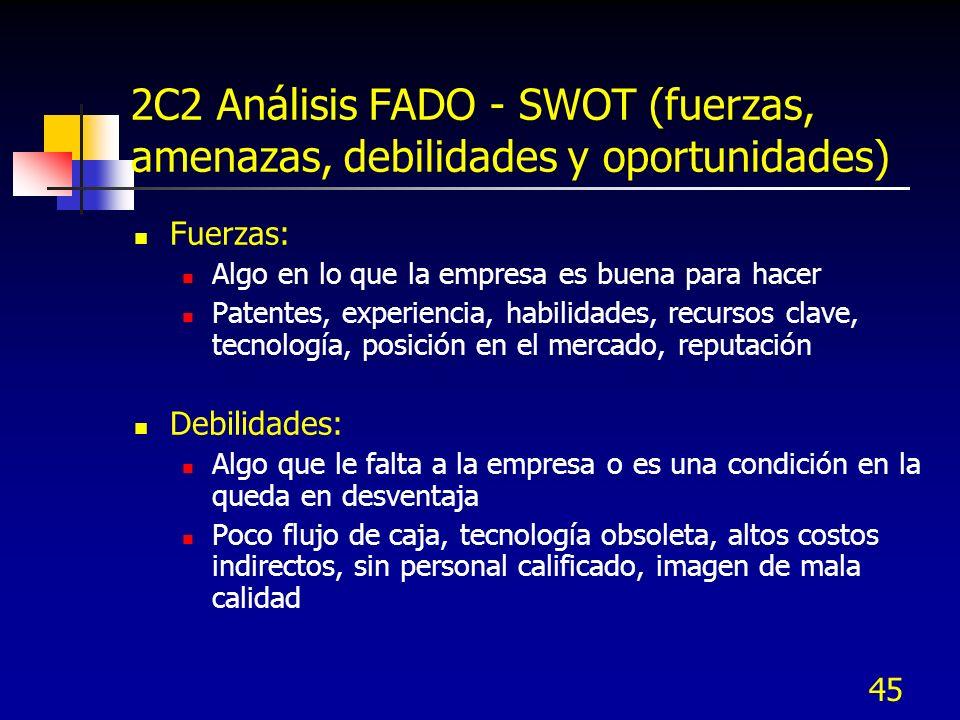 45 2C2 Análisis FADO - SWOT (fuerzas, amenazas, debilidades y oportunidades) Fuerzas: Algo en lo que la empresa es buena para hacer Patentes, experien