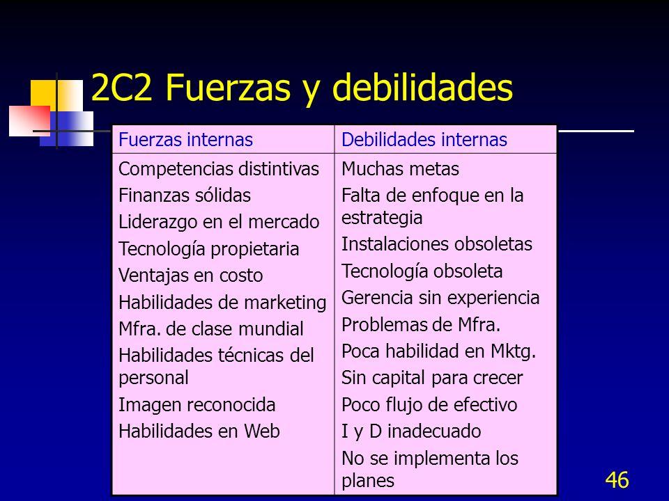 46 Fuerzas internasDebilidades internas Competencias distintivas Finanzas sólidas Liderazgo en el mercado Tecnología propietaria Ventajas en costo Hab