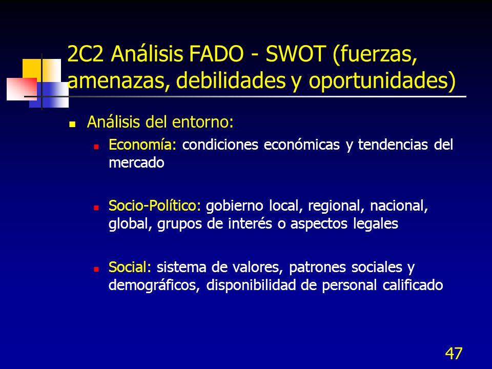 47 2C2 Análisis FADO - SWOT (fuerzas, amenazas, debilidades y oportunidades) Análisis del entorno: Economía: condiciones económicas y tendencias del m