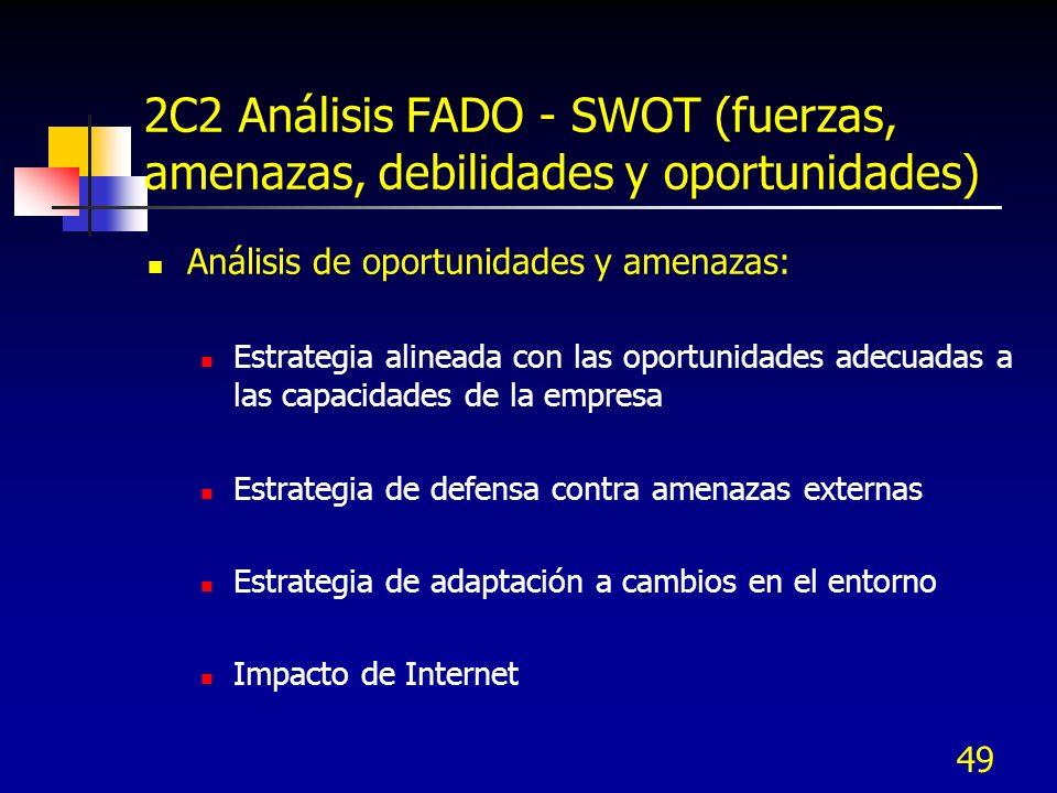 49 2C2 Análisis FADO - SWOT (fuerzas, amenazas, debilidades y oportunidades) Análisis de oportunidades y amenazas: Estrategia alineada con las oportun