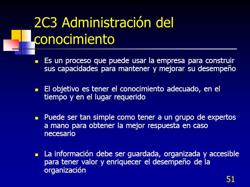 51 2C3 Administración del conocimiento Es un proceso que puede usar la empresa para construir sus capacidades para mantener y mejorar su desempeño El