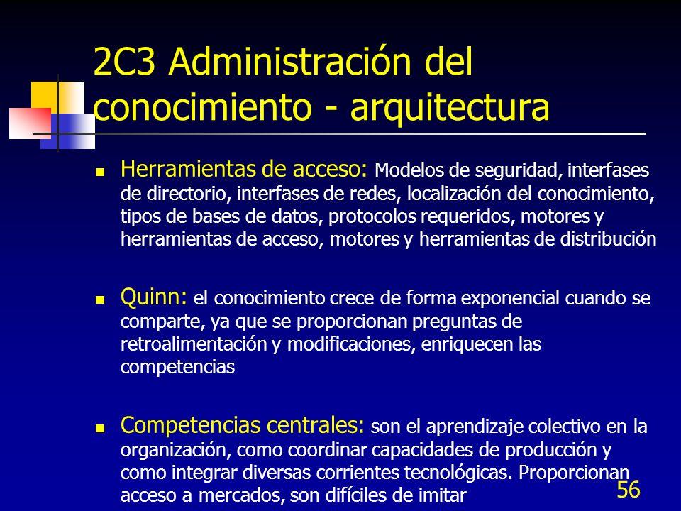 56 2C3 Administración del conocimiento - arquitectura Herramientas de acceso: Modelos de seguridad, interfases de directorio, interfases de redes, loc