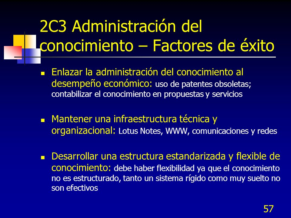 57 2C3 Administración del conocimiento – Factores de éxito Enlazar la administración del conocimiento al desempeño económico: uso de patentes obsoleta