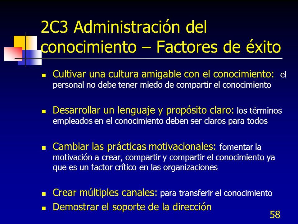 58 2C3 Administración del conocimiento – Factores de éxito Cultivar una cultura amigable con el conocimiento: el personal no debe tener miedo de compa
