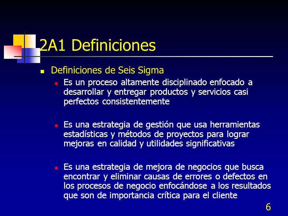 6 2A1 Definiciones Definiciones de Seis Sigma Es un proceso altamente disciplinado enfocado a desarrollar y entregar productos y servicios casi perfec