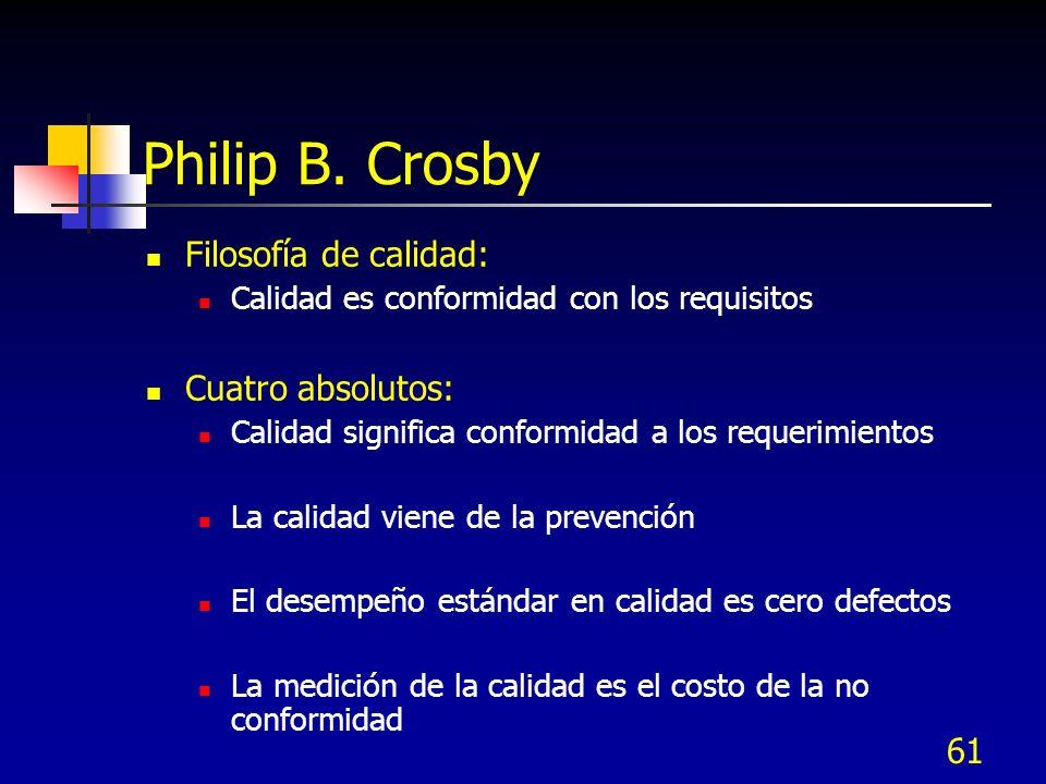 61 Philip B. Crosby Filosofía de calidad: Calidad es conformidad con los requisitos Cuatro absolutos: Calidad significa conformidad a los requerimient